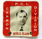 Wwii 1940and039s P.c.i. Carbon Div. Neville Island Male Employee Badge Home Front +