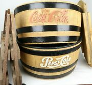 Coca Cola And Pepsi Cola Barrel Cooler, Tub Sign Store Display W/ Stand, Top Wow