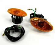Bike-it Small Oval Slim Fairing Motorcycle Turn Signals With Amber Lens
