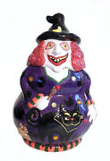 Vintage Red Haired Witch And Black Cat Halloween Cookie Jar