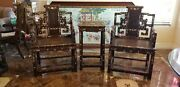 Antique Chinese Ming High Back Arm Chairs Pair With Table