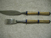 Rare Solingen Rostfrei Set Knife And Fork Made In Germany Gold Tone Handle