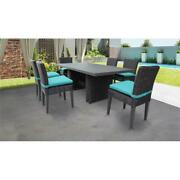Venice Rectangular Outdoor Patio Dining Table With 6 Armless Chairs In Aruba