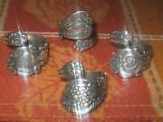 Lot Of 4 Rings Vintage Antique Style Adjustable Silver Spoon Ring Sizes 6-10