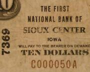 Sioux Center Iowa Ia 1929 Type 1 10.00 Ch. 7369 The First National Bank