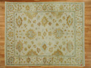 8 X 9and03910 Hand Knotted Ivory Oushak Oriental Rug Vegetable Dyes G752