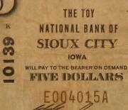 Sioux City Iowa Ia 1929 T1 5.00 Ch. 10139 The Toy National Bank