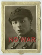 Wwii Original Old Photo Ussr Cccp Soviet Soldier W Budenny Cap Pointed Helmet +