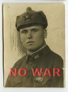Wwii Original Old Photo Ussr Cccp Soviet Soldier W Budenny Cap Pointed Helmet
