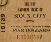 Sioux City Iowa Ia 1929 Type 1 5.00 Charter 10139 The Toy National Bank