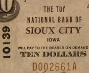 Sioux City Iowa Ia 1929 Type 1 10.00 Charter 10139 The Toy National Bank