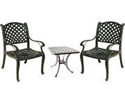 3 Piece Bistro Patio Set Table And Chairs Nassau Outdoor Cast Aluminum Furniture
