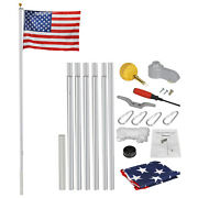 20 Ft Aluminum Flag Pole Kit Halyard Polewith 1 Free 3and039x5and039 Us Flag Heavy Duty
