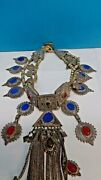 Handmade Antique Sterling Silver Necklace With Antique Real Coins, Lapis And Coral