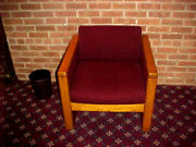 Vintage Chair Art Deco Oak Wood Cube Chair With Burgundy Fabric Seat Very Heavy