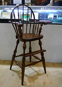 Wooden High Chair Handmade Signed And Dated By Actor George Montgomery 1947