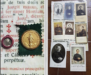 Rare Ancient Lot Relics St Don Bosco + Holy Cards + Medal Milano Our Lady
