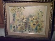 Vintage Orig American N.y.c. Listed Artist Watercolor Painting By Helen Librett