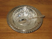 Wm Rodgers Silver Plate Dish W/ Glass Insert W/ Decor Edge And Silver Plated Spoon