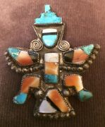 Zuni Knifewing Attr Homer Vacit Pin Mosaic Inlay Red Abalone Turquoise 1940s-50
