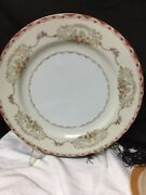 1940andrsquos 12 Dinner Plates Tuillerie Japan Fine China Hand Painted Red Trim