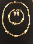 Vintage Christian Dior Signed Gold Plated Necklace, Bracelet And Earrings Set