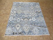 8and0391 X 9and03910 Hand Knotted Sky Blue Ikat Peshawar Oriental Rug G5200