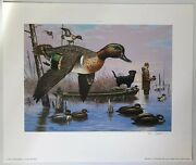 """Bob Sopchick """"a Late Start"""" Signed Print 1991 Green-winged Teal Ducks Unlimited"""