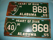 Vintage Original 1955 Alabama License Plate Tags Matching Pair Used County 40 H