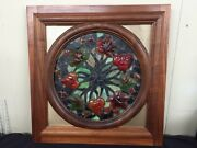 Fabulous Raised Flower Stained Glass Insert In Two Sided Finished Hardwood Frame