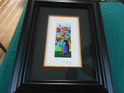2010 Peter Max Vase Of Flowers 8 1/2 X 3 1/2 Serigraph Signed And Numbered 6/350