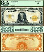 1922 10 Gold Certificate Fr-1173 Pcgs Graded No Ppq But Really Nice
