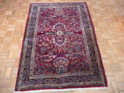 4and0396 X 6and0396 Hand Knotted Red Antique Fine Sarouk Oriental Rug G1879