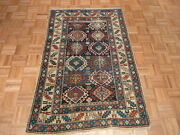 3and0396 X 5and0396 Hand Knotted Blue Antique Fine Kazak Oriental Rug Vegetable Dyes G1933