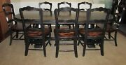 Rustic Distressed Finish Trestle Farm Table With 8 Chairs Black Shabby Quality