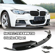 Front Bumper Spoiler For Bmw 3 Series F30 328i 335i M Sport Glossy Black 2012-18