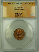 1892 Indian Head Penny Cent 1c Anacs Ms-60 Details Better Coin Rjs