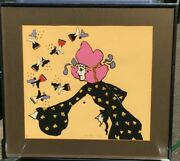 Peter Max Galaxy Lady Hand Signed Limited Edition Serigraph 1972 W/gallery Card