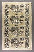 Uncut Sheet Of Four 10 New Orleans Canal Bank Notes