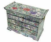 Jewelry Box Jewel Case Organizer 4 Drawers With Mirror Peony And Butterfly 701