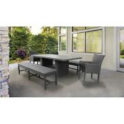 Belle Rectangular Patio Dining Table With 2 Chairs And 2 Benches In Black