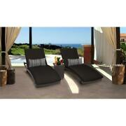 Barbados Curved Chaise Set Of 2 Wicker Patio Furniture With Side Table In Black