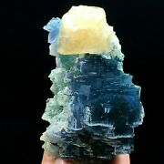 446.5g Rare Blue Trapezoidal Fluorite And Yellow Calcite Crystal Mineral Specimen