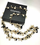 And03907c Pearls And Jet Black Enameled Cc And Velvet Bows Tiered Belt Necklace