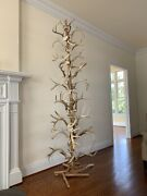 Antler And Cedar Handcrafted Totem Christmas Tree Sculpture Rustic Decor 8and039 Tall
