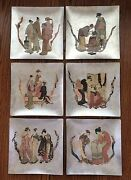 Vintage Signed Carole Stupell Asian 12andrdquox12andrdquo Glass Plates Chargers Display Art