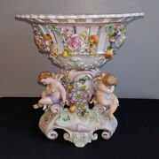 Large Antique Bolted Cherub Flower And Fruit Mounted Center Bowl Meissen - Dresden