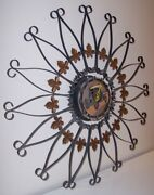 Vintage Midcentury Westclox Wall Clock Metal Scroll With Maple Leaves And Old Car