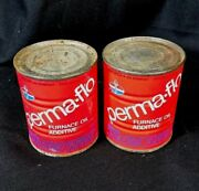 Lot Of 2 Perma-flo American Oil Co Furnace Oil Additive Metal Cans Vintage Nos
