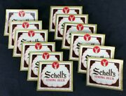 Lot Of 12 Schell's Strong Beer Bottle Labels Vintage Clam Shell Logo New Ulm Mn